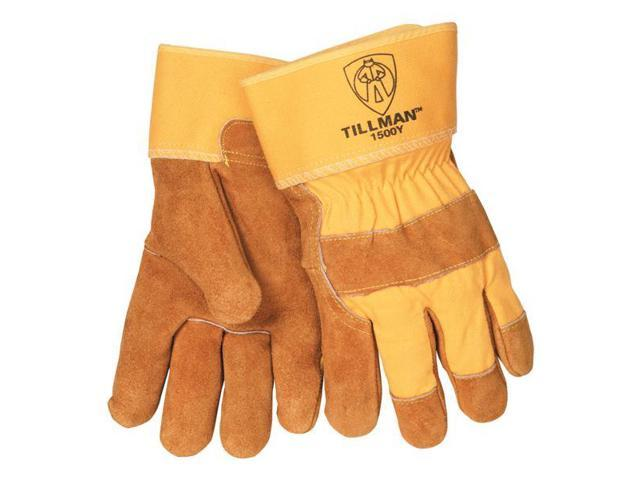 Tillman 1500Y Split Cowhide Cotton Lined Canvas Back Work Gloves, Large Pkg = 12