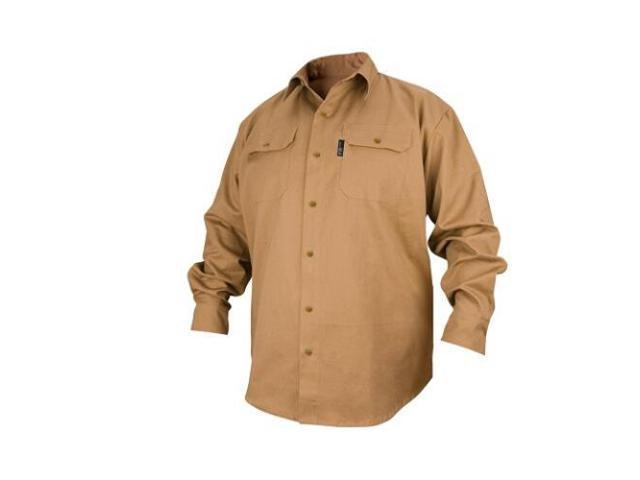 Revco FS7-KHK 7 oz. Khaki FR Cotton Long Sleeve Work Shirt, 3X-Large