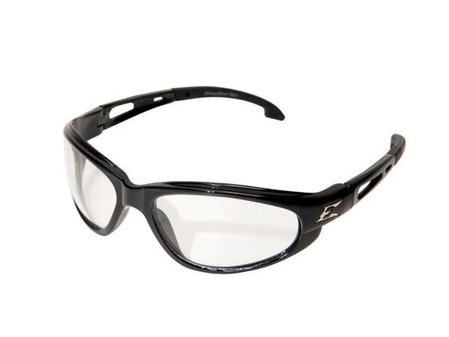 Edge Eyewear SW111  Dakura Wrap Around Safety Glasses, Black/Clear Lens