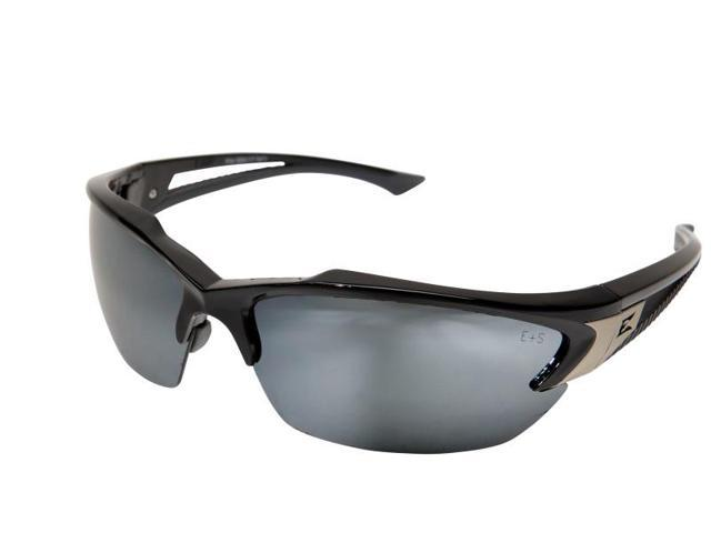 Edge Eyewear SDK117  Khor Safety Glasses, Black/Silver Mirror Lens