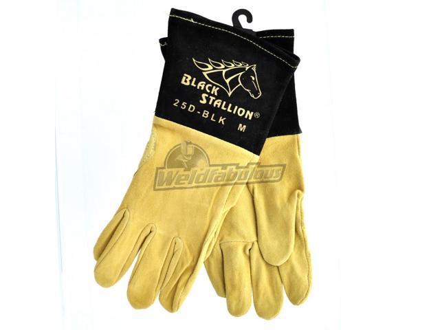 Revco Black Stallion 25D-BLK Premium Deerskin TIG Welding Gloves, Medium
