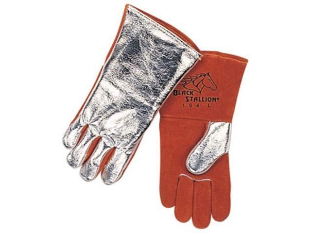 Black Stallion 104 Cowhide/Aluminized Stick Welding Gloves, X-Large