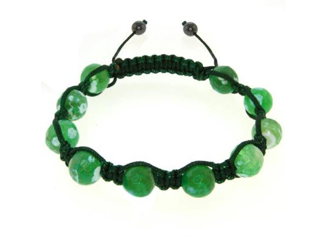 10mm Green and White Color Agate Cross Cut Fancy Beads Adjustable Bracelet
