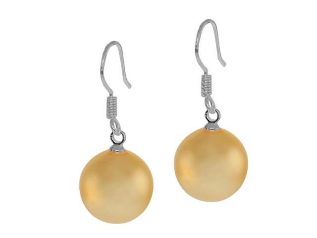 12mm Round Peach Color  Shell Pearl 925 Silver Dangle Earrings Fish Hook