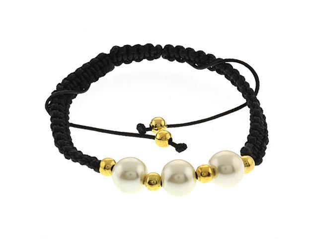 Beautiful Adjustable Unisex Bracelet With Three 10mm Glass Pearl