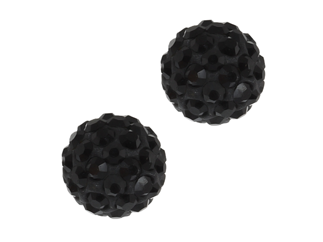 12mm Black Pave Crystal Disco Ball Stud Earrings