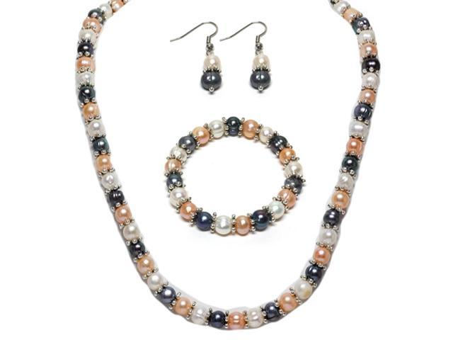 Multi-Color Cultured Freshwater Pearl Necklace Earrings Bracelet Set 7-8MM 18