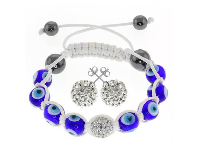 Hip Hop Style Hematite Beads, Evil Eye Beads & Disco Ball Bracelet & Earring Set