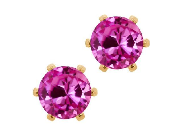 2.00 Ct 6mm Pink Created Sapphire Brass Yellow Gold Plated Brass Stud Earrings