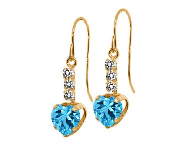 2.20 Ct Heart Shape Swiss Blue Topaz White Diamond 14K Yellow Gold Earrings