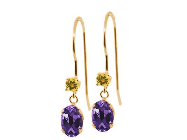 1.04 Ct Oval Purple Amethyst Yellow Simulated Citrine 14K Yellow Gold Earrings