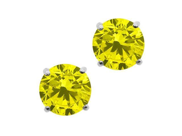 1.10 Ct Round Canary SI1-SI2 Diamond 14K White Gold Stud Earrings