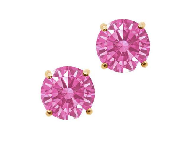 0.92 Ct Pink 14k Yellow Gold Earrings Made With Swarovski Zirconia