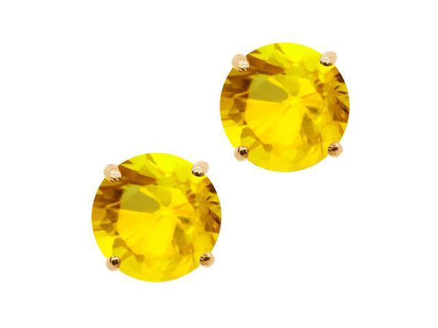 0.72 Ct Round 4mm Yellow Sapphire 14K Yellow Gold Stud Earrings