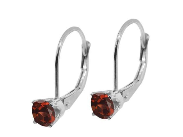 14K White Gold 0.74 Ct Round Red Garnet Leverback Earrings