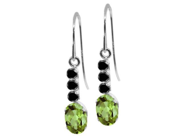 1.20 Ct Oval Green Peridot Black Diamond 10K White Gold Earrings