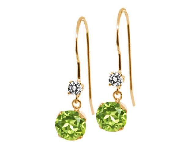 1.33 Ct Round Green Peridot White Diamond 14K Yellow Gold Earrings