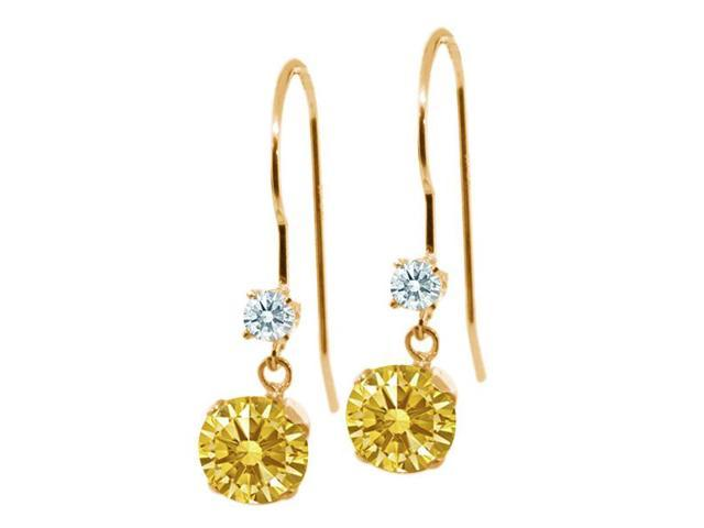 1.02 Ct Golden Yellow 14k Yellow Gold Earrings Made With Swarovski Zirconia
