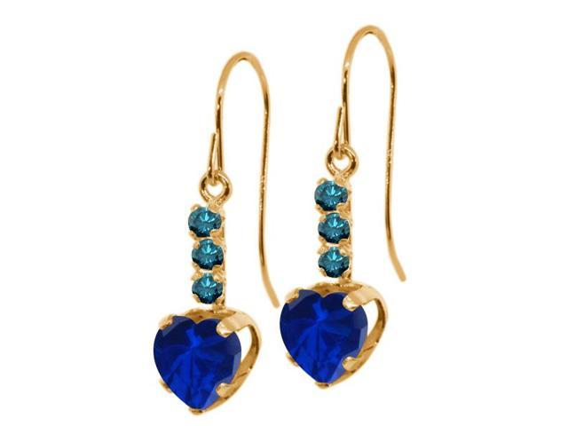 2.34 Ct Heart Shape Blue Simulated Sapphire Blue Diamond 14K Yellow Gold Earrings