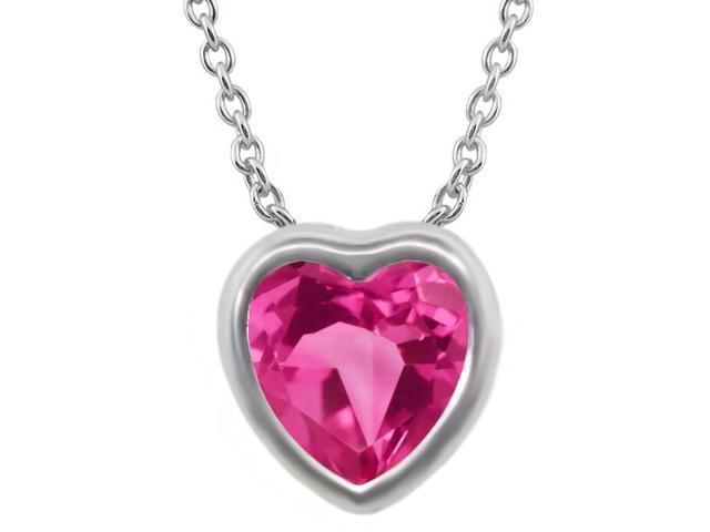 1.07 Ct Heart Shape Pink Created Sapphire 925 Sterling Silver Pendant With Chain