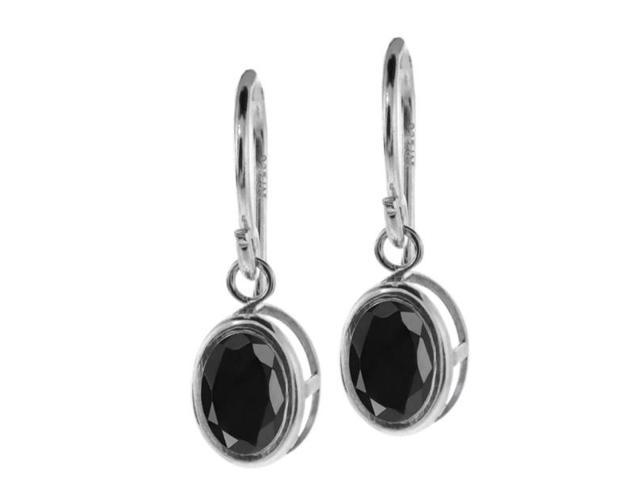 2.14 Ct Oval Black Sapphire 925 Silver French Wire Dangling Earrings