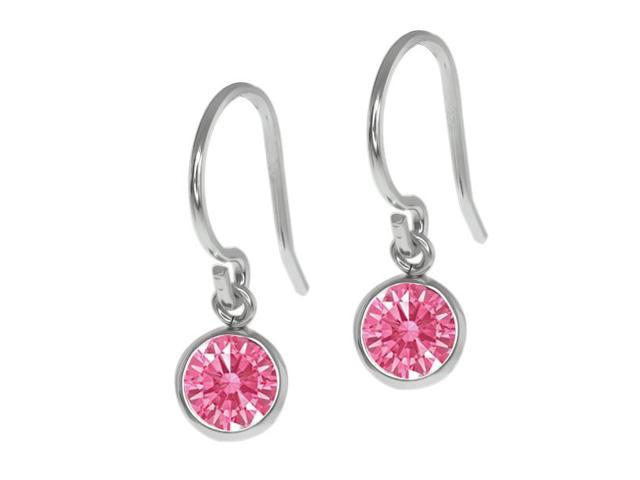 0.92 Ct Fancy Pink 925 Sterling Silver Earrings Made With Swarovski Zirconia