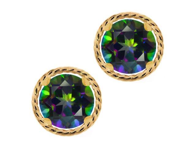 2.00 Ct Round 6mm Green Mystic Topaz 14K Yellow Gold Stud Earrings