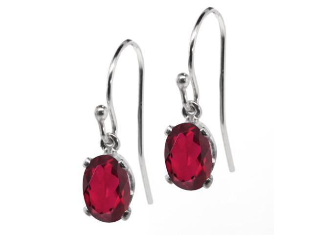1.90 Ct Oval Red Mystic Topaz 925 Sterling Silver Earrings