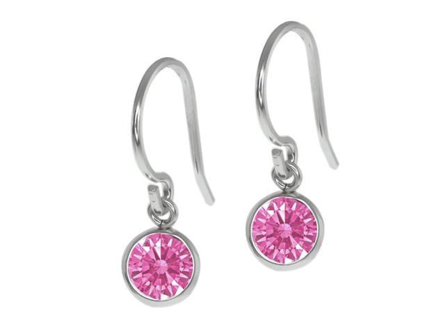 0.92 Ct Pink 925 Sterling Silver Earrings Made With Swarovski Zirconia