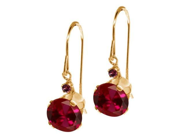 2.05 Ct Round Red Created Ruby Red Rhodolite Garnet 14K Yellow Gold Earrings
