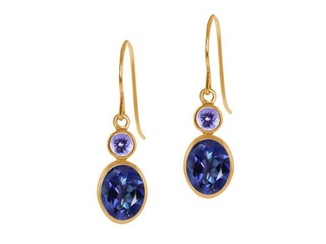 2.14 Ct Oval Tanzanite Blue Mystic Topaz Blue Tanzanite 14K Yellow Gold Earrings