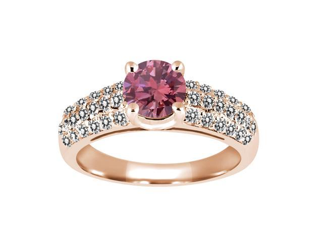 1 21 Ct Round Pink and White Diamond 925 Rose Gold Plated Silver Engagement R