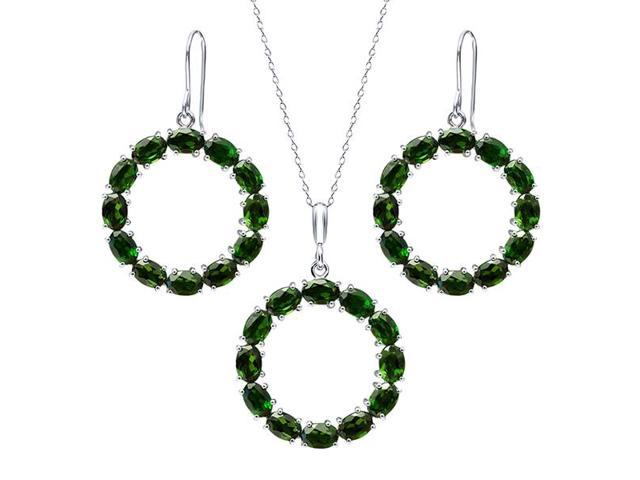 21 Ctw Oval Chrome Diopside Sterling Silver Circle Pendant ...
