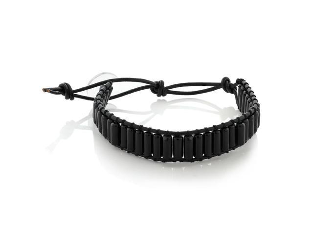 Adjustable Black Leather Bracelet with Clear Snap Button