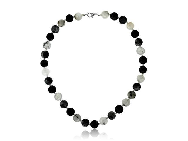 Amazing Round Quartz With Black Tourmaline Necklace 17 Inch With Lobster Clasp