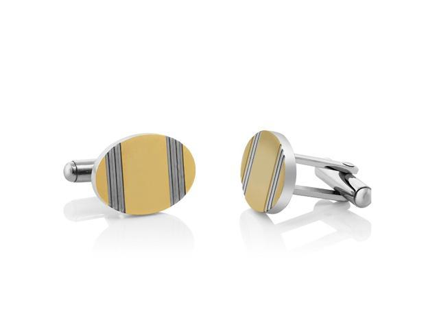 Stunning Stainless Steel High Shine 2-Tone Men Cufflinks 19X13mm