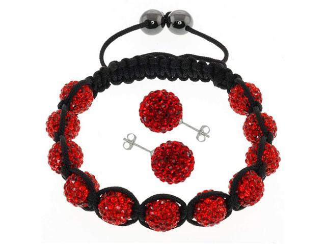 Fully Iced Out Pave 10mm Red Disco Ball Adjustable Bracelet &12MM Earrings Set