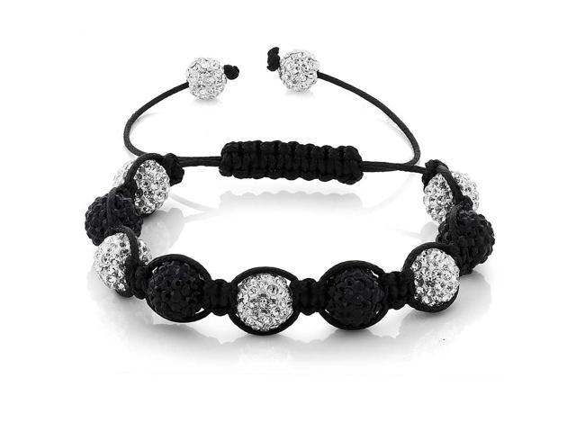 10mm White & Black Pave Disco Ball Beads Hip Hop Style Adjustable Bracelet