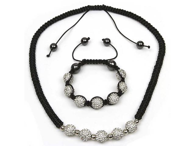Iced Out 10mm White Pave Disco Ball Beads Adjustable Bracelet and Necklace Set