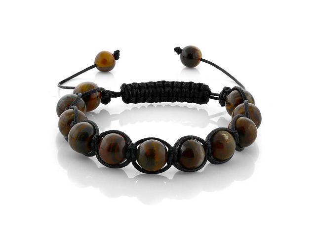 10mm Round Tiger Eye Bead Adjustable Bracelet