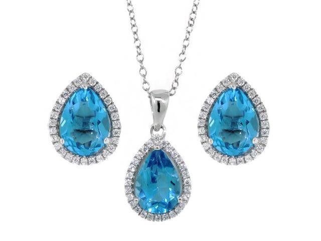 6.00 Ct 10X7mm Blue Topaz Pear Shape Pendant Earrings Sterling Silver Set 18