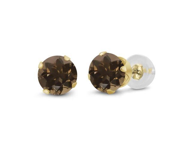 0.52 Ct Round 4mm Brown Smoky Quartz 14K Yellow Gold Stud Earrings