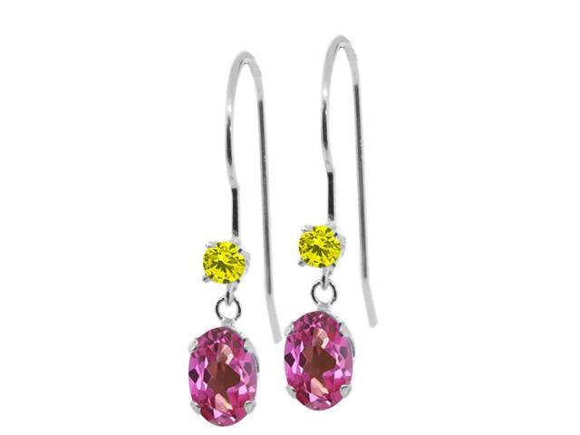 1.23 Ct Oval Pink Mystic Topaz Canary Diamond 14K White Gold Earrings