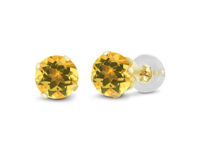1.40 Ct Round 6mm Natural Yellow Citrine 14K Yellow Gold Stud Women's Earrings