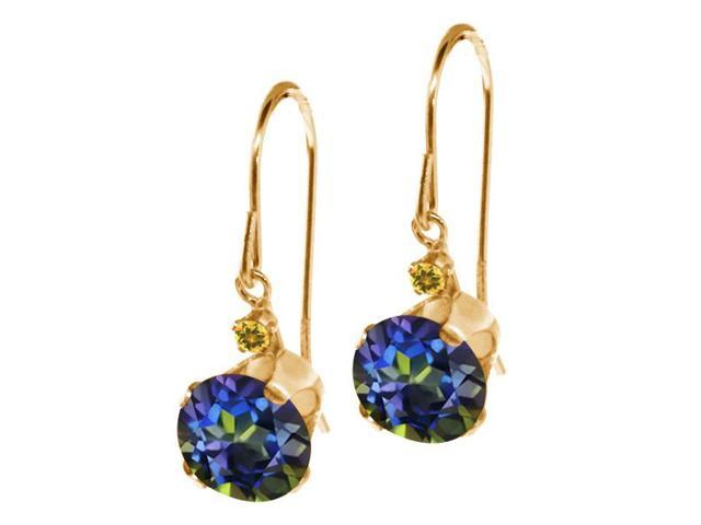 1.64 Ct Round Blue Mystic Topaz and Simulated Citrine 14K Yellow Gold Earrings