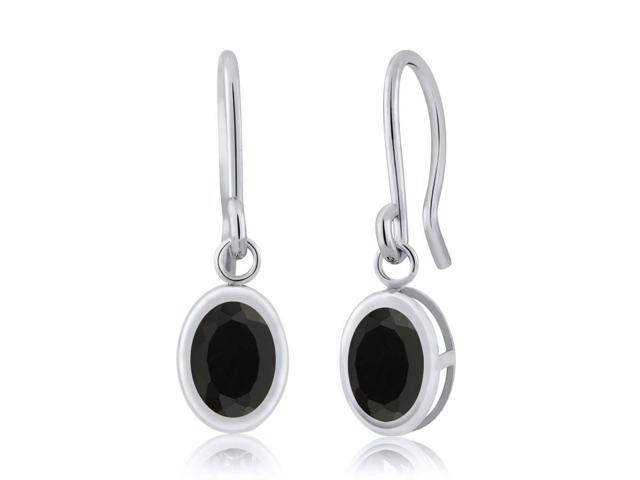 1.36 Ct Oval Black Onyx 925 Sterling Silver French Wire Dangling Earrings