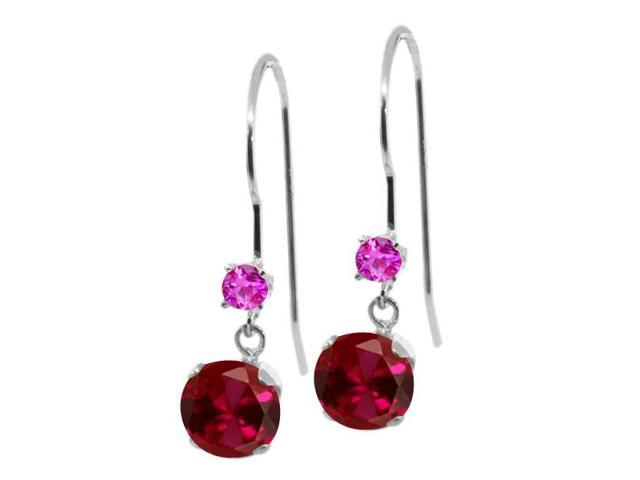 1.36 Ct Round Red Created Ruby Pink Sapphire 14K White Gold Earrings