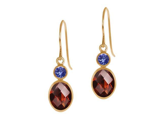 1.84 Ct Oval Checkerboard Red Garnet Blue Tanzanite 14K Yellow Gold Earrings
