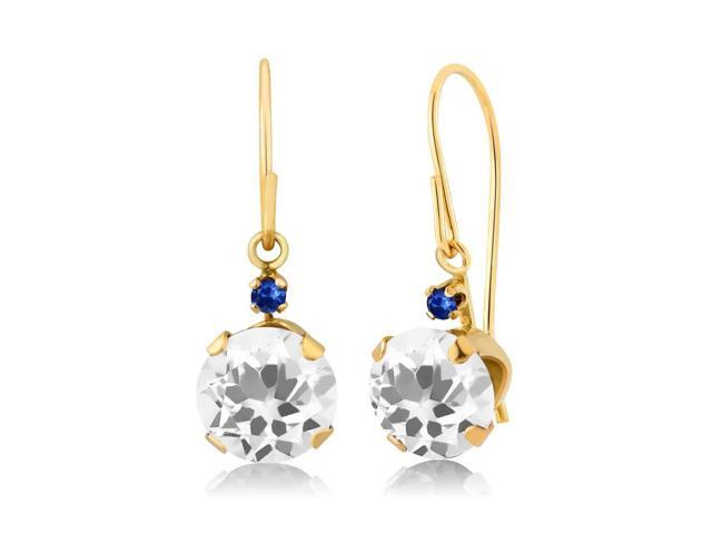 1.44 Ct Round White Quartz Blue Sapphire 14K Yellow Gold Earrings