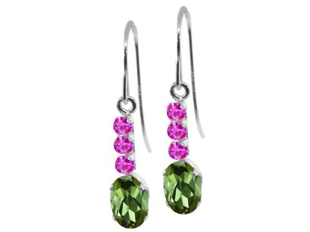 1.10 Ct Oval Green Tourmaline Pink Sapphire 10K White Gold Earrings